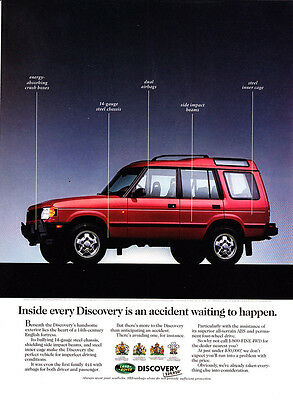 "1995 Land Rover Discovery SUV photo ""Anticipating An Accident"" promo print ad"
