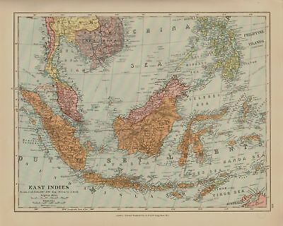 Edward Stanford Map  1920 . East Indies