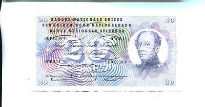 Switzerland 1956 20 Franc Currency Note Vf 2360J