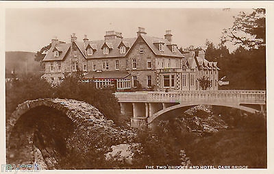Postcard Carrbridge Highland Scotland the Two Bridges and Hotel RP by Ness