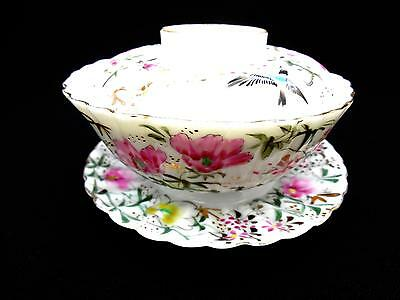 BEAUTIFUL Antique Japanese / Chinese FINE Tea Bowl, Cover & Stand Handpainted
