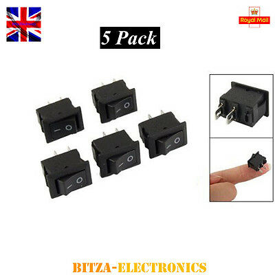 5 x Mini AC250V 3A ON/OFF I/O SPST Snap in Boat Rocker Switch UK Seller