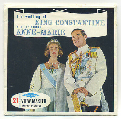 Wedding KING CONSTANTINE Princess ANNE-MARIE 1964 Athens Greece ViewMaster C-007