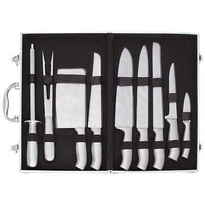 SLITZER Professional Chef Cutlery 10pc Knife Set Stainless Steel Knives w Case
