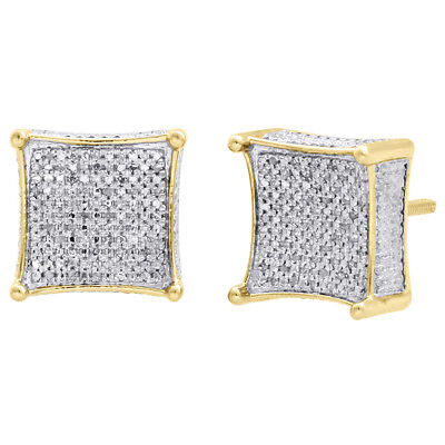 Diamond 3D Kite Shape Earrings Sterling Silver Yellow Finish 12mm Studs 1/3 CT.