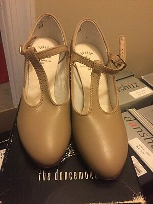 "Capezio 700 T Strap Character Ballroom Dance shoes size 7M  2"" Heel leather TAN"