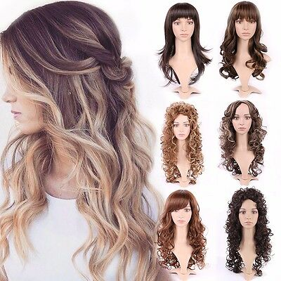 Ladies Long Black Brown Blonde Hair Wig Real Natural Curly Straight Full Wigs TF