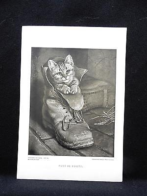 Small Antique Print Perry Pictures PUSS IN BOOTS by Paton Kitten in Shoe