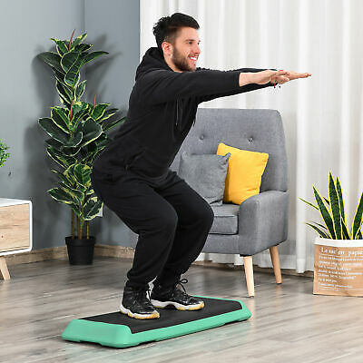 """Soozier 43"""" Aerobic Platform 4""""-6""""-8"""" Cardio Fitness Exercise Stepper W/ Risers"""