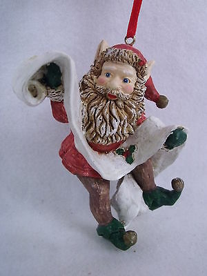 GINY Elf W/List Christmas Holiday Ornament 1991