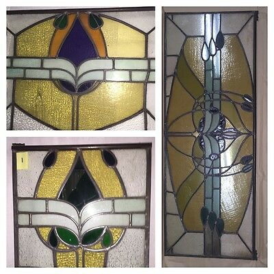 7 Antique American Stained Leaded Glass Windows ~ 3 sizes Complementary Styles