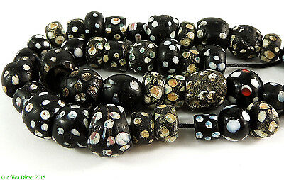 41 Black Skunk Venetian Trade Beads White Spotted Loose Africa