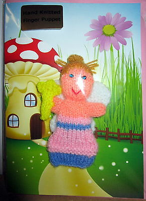 """""""little Fingy"""" Hand Knitted Fairy Finger Puppet On A Gift Card With Envelope"""