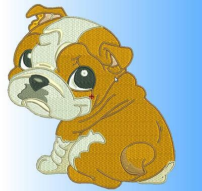 Cute Baby English Bulldog 10 Machine Embroidery Designs Cd 4 Sizes Included