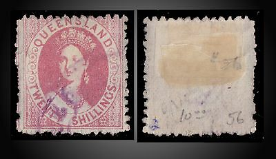 1880 Queensland Chalon 20 Shillings Rose Cancelled Wmk Crown And Q St 56 Sg 127