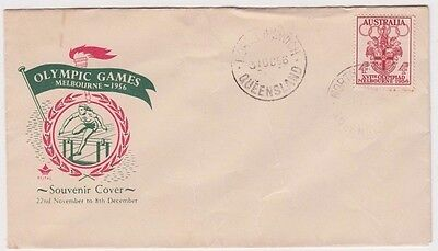 Stamp Australia 1956 Olympic Games 4d Royal FDC hurdles magenta wreath & green