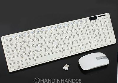 White Optical Wireless Keyboard+Film+Optical Mouse USB Receiver Set For PC 2.4G