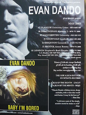 Evan Dando - Magazine Cutting (Full Page Advert) (Ref Gd)
