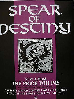 Spear Of Destiny - Magazine Cutting (Full Page Advert) (Ref Sg)