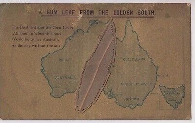 """Stamp 1d Victoria 1911 postcard """"A Gum Leaf From the Golden South"""" map Australia"""