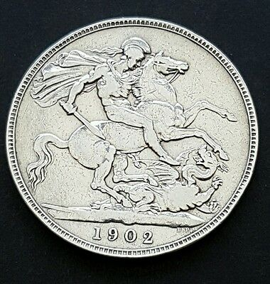 1902 Edward VII Silver Crown Coin Great Britain