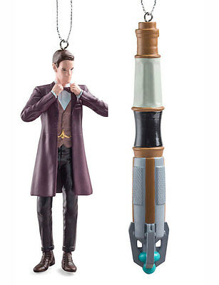 Doctor Who 11th Doctor Matt Smith & Sonic Screwdriver Ornaments BNWT