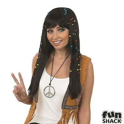 Ladies Braided Hippie Wig for 60s 70s Hippy Fancy Dress Accessory IN: BLACK