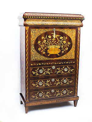 Antique Dutch Marquetry Mahogany Secretaire Cabinet c1800
