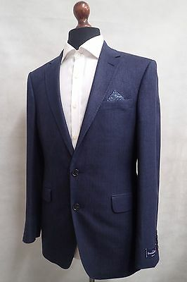 Men's Ermenegildo Zegna Linen Silk Jacket Blazer Tailored Fit Navy Blue SS8048