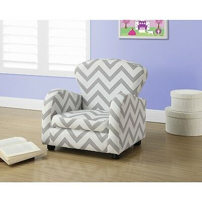 Monarch Juvenile Chevron Pattern Chair - Grey
