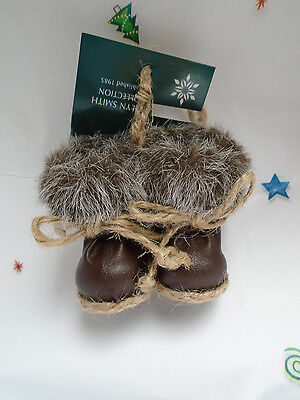 """New Midnight Clear BROWN LEATHER BOOTS Faux Fur 2"""" Christmas Ornament"""