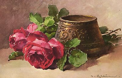 Catherine Klein roses and vase flowers old artist signed postcard