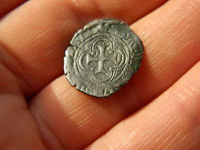 Un researched Post Medieval Hammered Bronze coin cross metal detecting detector