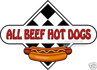 "All Beef Hot Dogs 14"" Hotdogs Restaurant Concession Food Truck Vinyl Sticker"