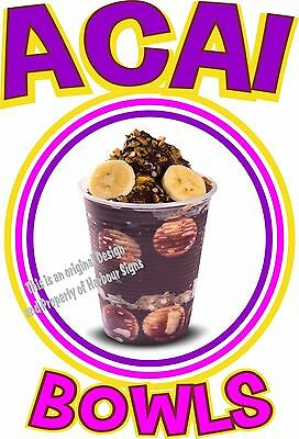 "Acai Bowls Decal 14"" Concession Cart Food Truck Restaurant Vinyl Sticker"