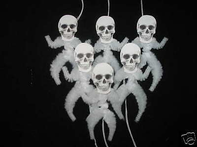 Primitive Vintage Style Halloween Skeleton Ornaments Chenille Feather Tree