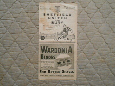 Sheffield Utd V Bury Second Division Match Programme October 1950