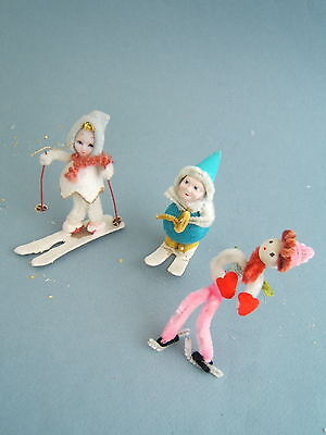 Vintage 50's Three Christmas Skier Skater Ornaments Chenille, Mica