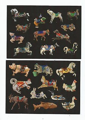 2 Carousel Animal Postcards Empire State Carousel  All Indigenous to New York