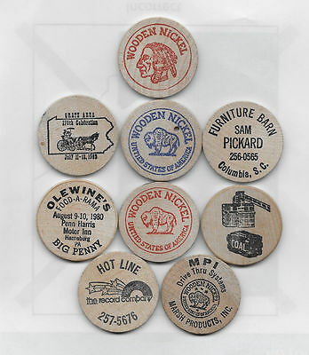 9 Ventage Wooden Nickels