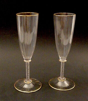 Exquisite Pair Signed Lobmeyr Vienna Champagner Flutes