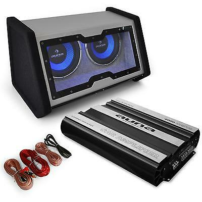 "Set Car Hifi Sono Voiture Disco Mobile Tuning Double Subwoofer 2X12"" Ampli 4000W"