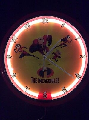 Collectible Disney Incredibles Neon Battery/ac Adapter Wall Clock