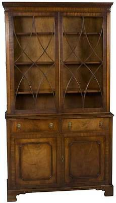 Antique Style Mahogany Gothic Arch Bookcase w Lion Head Handles Bookshelf Wood