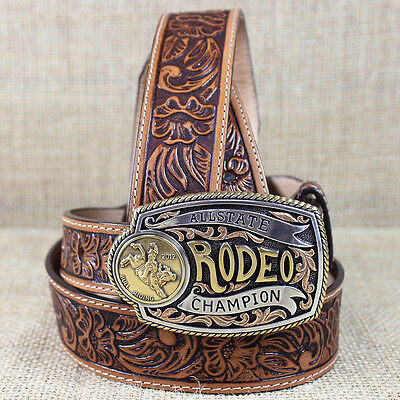 Tony Lama Tan Kid's Lil' Champ Rodeo Western Floral Tooled Leather Belt
