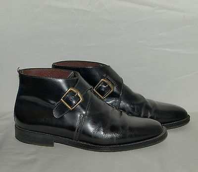 VINTAGE CABLE & CO ALL-LEATHER BLACK DOUBLE BUCKLE BOOTS size 41 (8)