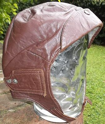1930's ORIGINAL PRIDE & CLARKE MOTORCYCLE LEATHER HELMET MEDIUM SIZE 7 1/8