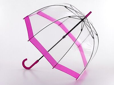 Fulton Birdcage Clear Dome Dome Umbrella with Pink Trim