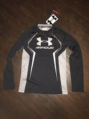 Boys Under Armour Athletic Shirt New Compression Black $35 Small S