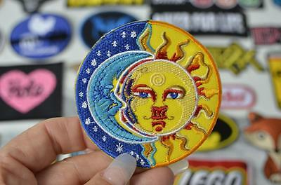 ASTROLOGY Sun Moon Face Stars Universe Tarot Two Badge Patch Iron/Sew On Patches